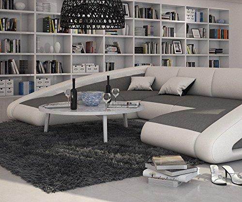 Couch Kerry Weiss Grau 355x245 Cm Ottomane Links Wohnlandschaft