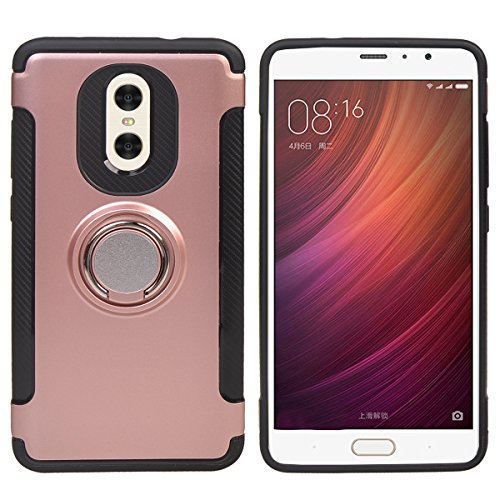 Price comparison product image COOLKE Dual Layer Shockproof TPU Silicone + PC Hard Back shell 360 Rotating Ring Grip Holder Kickstand with Back Magnetic Circle Protective Case Cover for Xiaomi Redmi Note 4X - Rose Gold