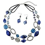 BOCAR 2 Strand Statement Choker Shell Necklace and Earring Set for Women Gift (NK-10370-royalblue)