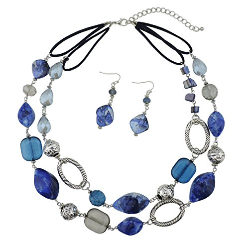 BOCAR 2 Strand Statement Choker Shell Necklace and Earring Set for Women Gift (NK-10370-royalblue) by Bocar