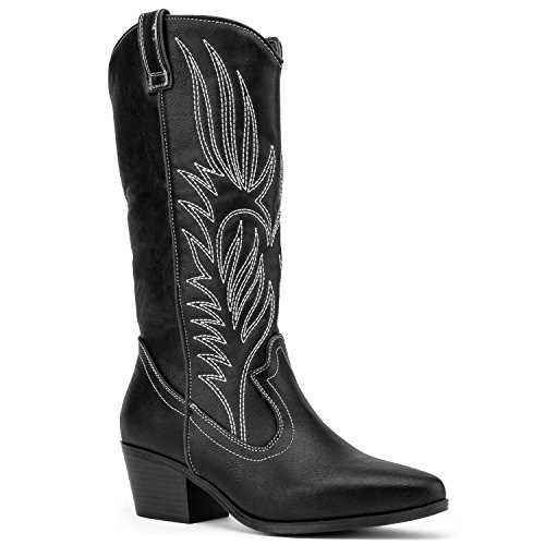 (RF ROOM OF FASHION Women's Pointy Toe Low Stacked Heel Western Cowboy Pull on Boots Black (7))