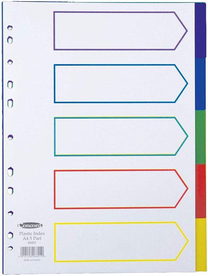 Concord - Separadores para archivador (polipropileno de 120 micras, tamaño A4, multiperforado, 5 divisiones): Amazon.es: Oficina y papelería