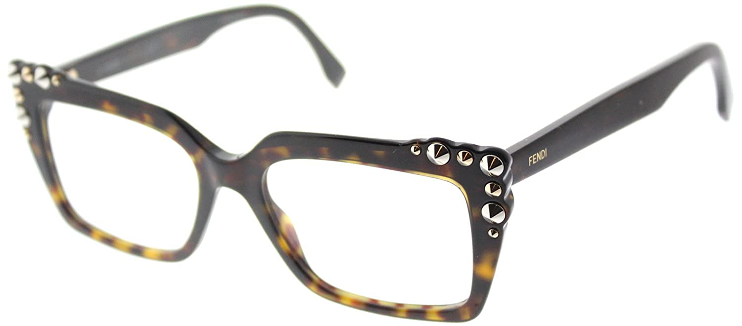 28a7beab6e Amazon.com  Fendi FF 0262 086 Dark Havana Plastic Square Eyeglasses 51mm   Clothing