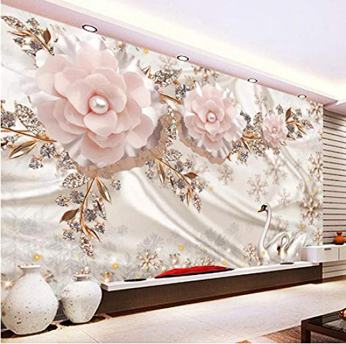- 3D Mural HD Office Home Living Room swan Jewels Flowers Art Wall Covering decoration-320cmX200cm