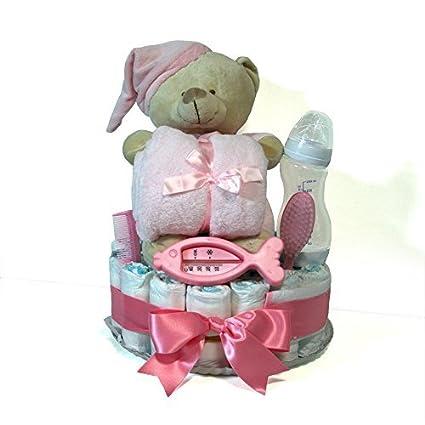 Tarta de pañales Dodot niña - Osito con manta rosa - Mil Cestas