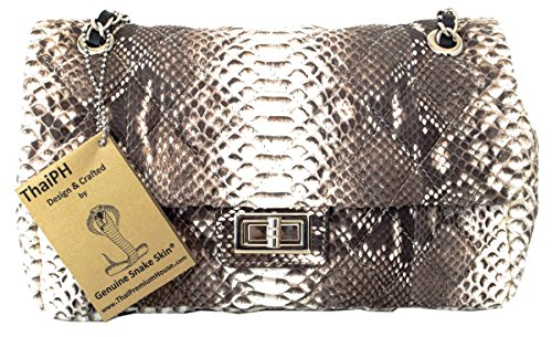 Authentic Snake Skin Women's Python Leather Chain Shoulder Bag Purse Baguette Handbag