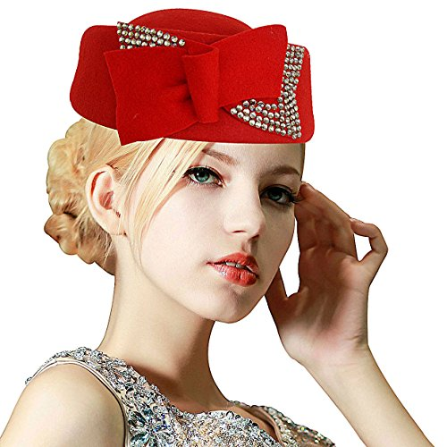 (Ladies Rhinestone Teardrop Fancy Wool Fascinator Cocktail Pillbox Cap Hat A254)