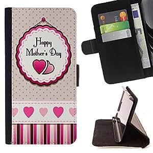 - Happy Mother 's Day - - Monedero PU titular de la tarjeta de cr?dito de cuero cubierta de la caja de la bolsa FOR Samsung Galaxy S4 Mini i9190 Retro Candy