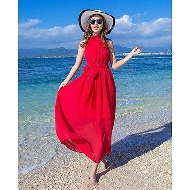 PU&PU Robe Aux femmes Ample Simple,Couleur Pleine Col Arrondi Maxi Polyester , red , s