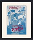 Framed Print of Cephos cold and flu powder advertisement