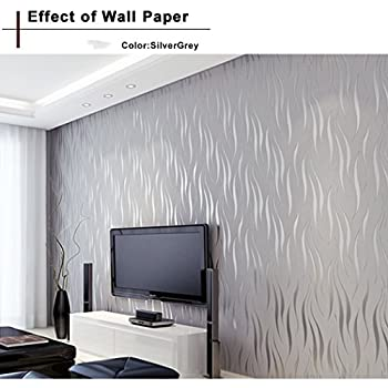 Oanon 3D Wallpaper Non Woven Roll Living Room Silver Grey Wall Decor