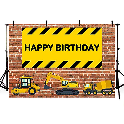 - MEHOFOTO Construction Photo Background Brick Wall Children Happy Birthday Party Celebration Truck Excavator Backdrops for Photography 7x5ft
