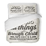 SanChic Duvet Cover Set Bible Lettering Christian I Can Do All Things Through Christ Which Strengtheneth Me Philippians 13 Decorative Bedding Set Pillow Sham Twin Size