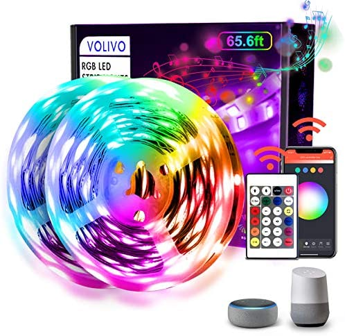 Volivo WiFi Led Strip Lights 65.6ft, 2 Rolls of 32.8ft LED Light Strip Works with Alexa and Google Assistant, Music Sync Color Changing RGB LED Lights for Bedroom Kitchen, Party, TV
