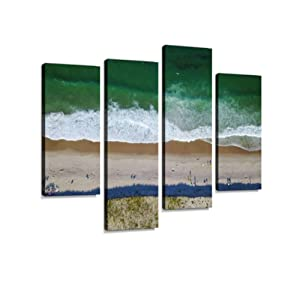 Aerial of Popular Beach on Cape Cod Canvas Wall Art Hanging Paintings Modern Artwork Abstract Picture Prints Home Decoration Gift Unique Designed Framed 4 Panel