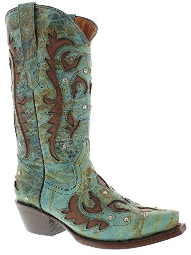 Cowboy Professionella Kvinna Turkos Brun Dubbar Över Läder Cowboystövlar Turkos
