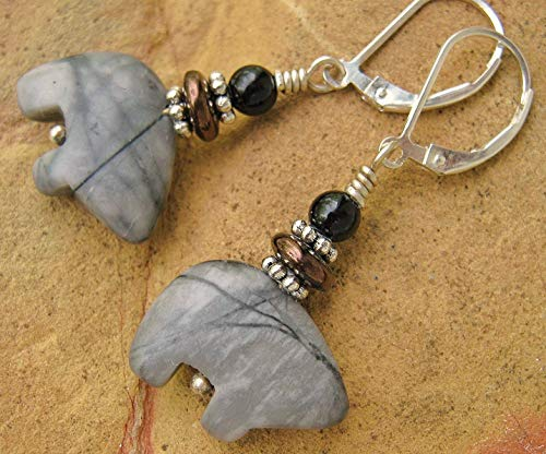 Zuni Bear Earrings Silverleaf Jasper w/Sterling Silver Leverbacks