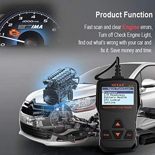 NEXAS Auto Code Reader Reset Engine Warning Light OBDII Scanner, Support  Emission Smog Check OBD2 Scan Tool with Fast Battery Test