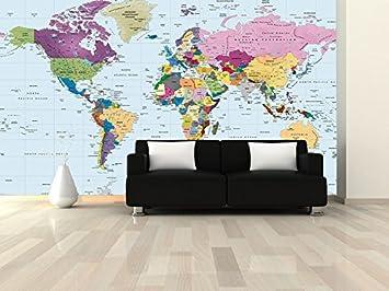 Academia maps world map wall mural modern colorful political map academia maps world map wall mural modern colorful political map pre pasted wallpaper wall decor stickers amazon gumiabroncs Choice Image
