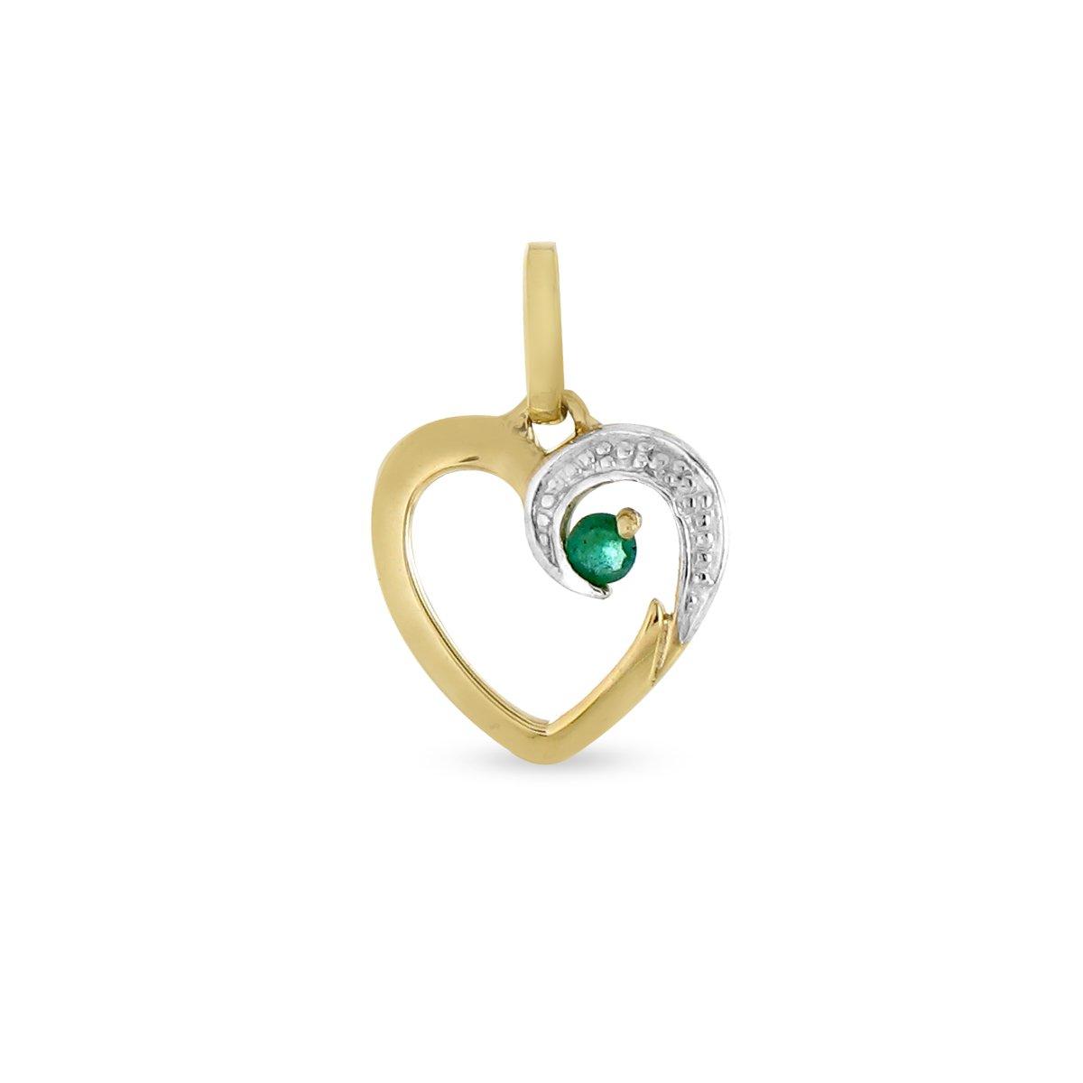 /Émeraude sans cha/îne PDTRB01004 Pendentif seul - Or bicolore 9 cts Tous mes bijoux