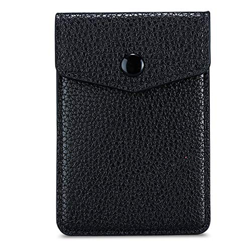 E-Tree Cell Phone Card Holder PU Leather Wallet Stick on Back of Phone with Button 3M Adhesive Sticker on Pocket for Credit Card Business Card ID Cash (Black)