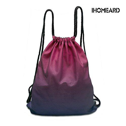 Foldable Cinch Sack Sackpack Drawstring Bag Backpacks IHOMEARD Basic Storage Bag or BBQ Pool, Swim, Beach, Camping, Beach Blanket, Trip, Birthday Party Favor (Purple+Rose Red)