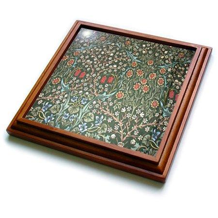 "3dRose trv_186320_1 Print of Vintage Green Rose N White Tiny Floral Trivet with Ceramic Tile, 8 by 8"", Brown"