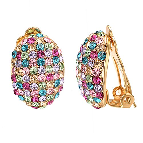Yoursfs Clip On Earrings with Round Austrian Crystals (18k Rose Gold Plated) (Colorful Clip Earrings) ()