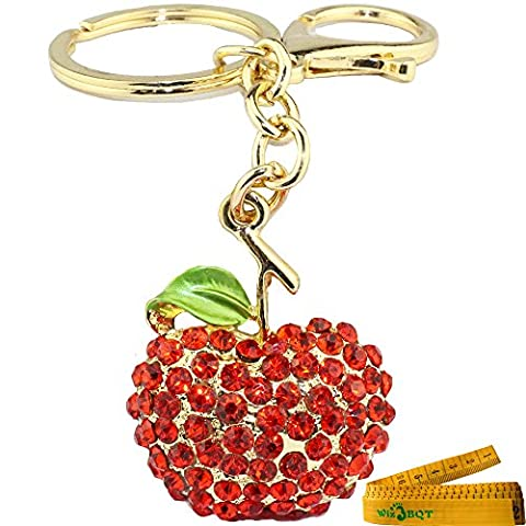 Bling Bling Apple Shaped Crystal Rhinestone Graven 3D Cubic Metal Keychain Car Phone Purse Bag Decoration Holiday Gift - Apple Shaped Key