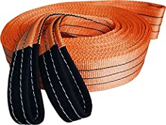 "EXTRA HEAVY DUTY STRAP - Made with tightly woven 3.5"" wide polyester for a 35,000 LB capacity. REINFORCED LOOPED ENDS - Extra padding at looped ends to protect your rig and provide extra strength at connection points. FLEXIBLE & DURABLE -..."