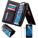 "iPhone 7 Case, iPhone 7 Wallet Case, Bonice Premium Leather Zipper Wallet Multifunctional Detachable Removable Purse Card Slot Pocket Wallet Pouch Protective Cover for iPhone 7 4.7"" - Black"