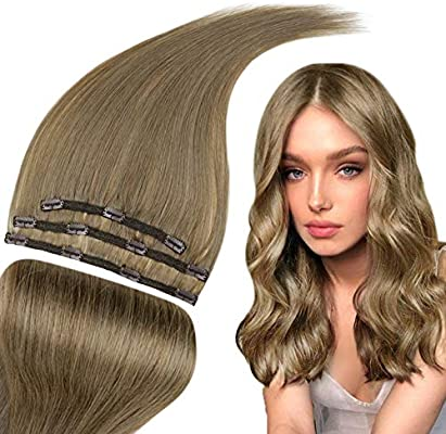 Runature 14 Short Human Hair Extensions Clip Ins 3piece 50g Thick Natural Stright Hair Weave 8 Light Brown Color Clip In Hair Extensions Double Weft For Party Buy Online At Best Price