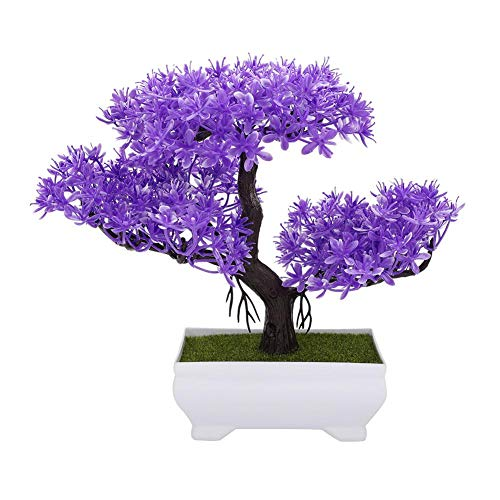 Mumusuki Artificial Flowers with Pot Fake Bonsai Silk Plastic Plant Vase for Wedding Holiday Garden Office Home Decor (Purple Cedar)