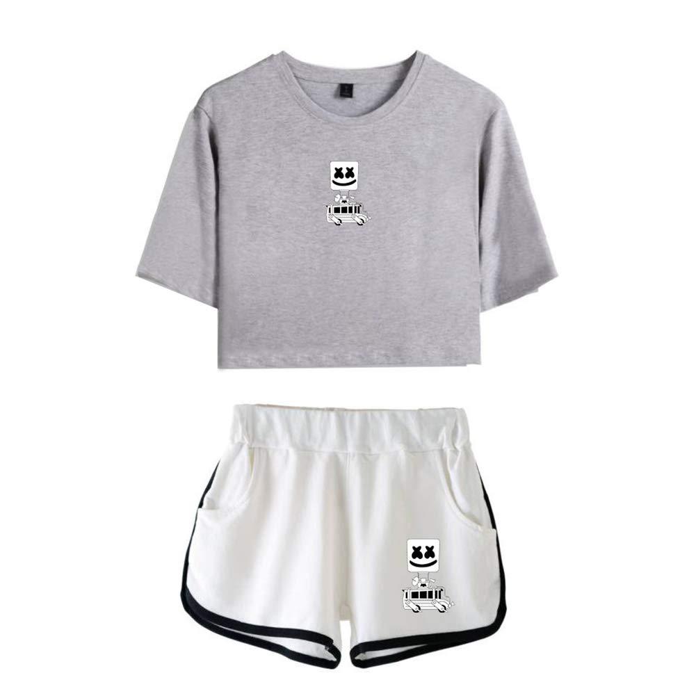 Teenager M/ädchen Tshirts Shorts Sommer Crop Tops Anzug Frauen Bauchfrei Oberteile Sport Kurze Tank ZBSPORT Damen Marshmello T-Shirts und Hosen Set