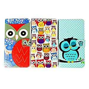 RC - Lovely Cartoon Owl Pattern Faux Leather Flip Case with Card Slots & Closure for Samsung Galaxy S4 I9500 , Blue and Red