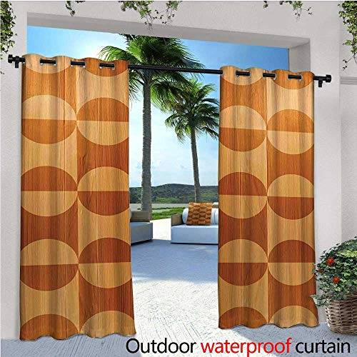 - Rustic Outdoor Privacy Curtain for Pergola Abstract Style Oak Plank Pattern with Tiled Bound Lines and Oval Curves Image Thermal Insulated Water Repellent Drape for Balcony W84