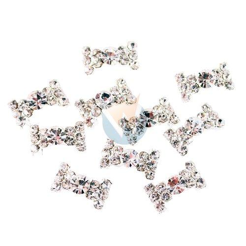 Winstonia 3D Nail Art Bow Tie Ribbon Alloy Decoration Bling Shiny Crystal Rhinestone