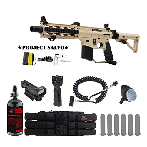 MAddog Tippmann U.S. Army Project Salvo Tactical HPA Red Dot Paintball Gun Package - Tan