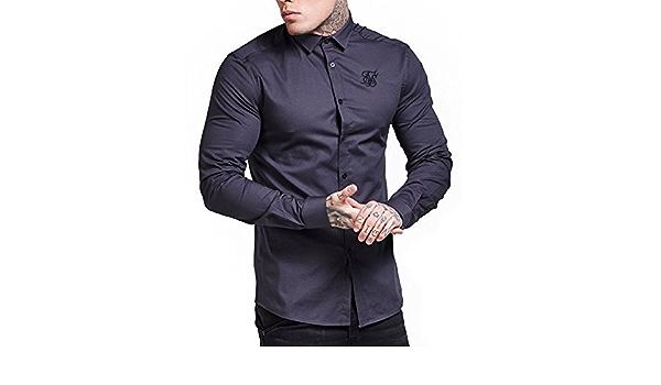Camisa Manga Larga Siksilk – Fitted Cotton Stretch Gris Talla ...
