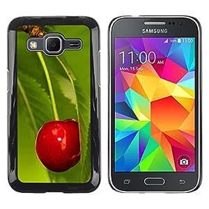 TopCaseStore / la caja del caucho duro de la cubierta de protección de la piel - Fruit Macro Cherry Leaf - Samsung Galaxy Core Prime SM-G360