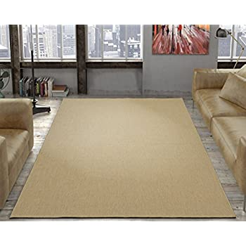 Ottomanson Jardin Collection Natural Solid Design Indoor Outdoor Jute Backing Area Synthetic Sisal Rug