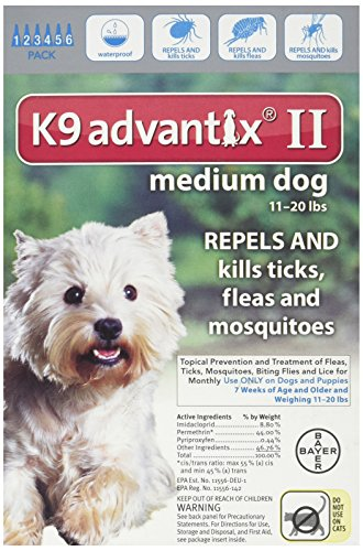 K9 Advantix II for Dogs 11 to 20 lbs - 6 Count Advantix Red Flea Treatment