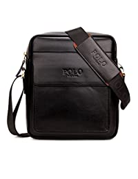 VICUNA POLO Leather Mens Shoulder Bag Cross Body Messenger Bag Handmade Bag (21247cm, black)