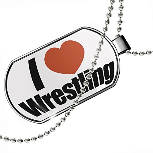 Dogtag I Love Wrestling Dog tags necklace - Neonblond by NEONBLOND