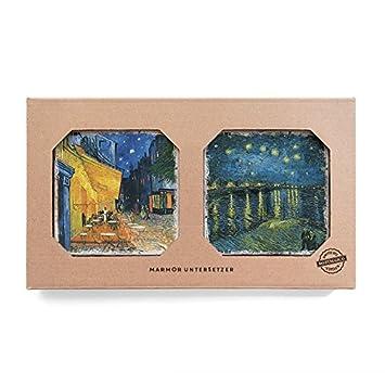 Nostalgico Marmor Untersetzer Cafe Terrasse Am Abend Sternennacht