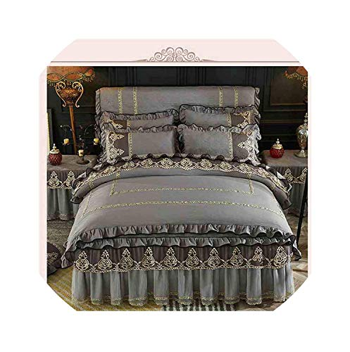 - Bedspreads Princess Bedding Set Quilted Cotton Thick Warm Bed Set Blue Lace Duvet Cover Bed Skirt Sheet Pillowcases Queen King Size,G,Full Size 4Pcs,Fullsize4pcs,E