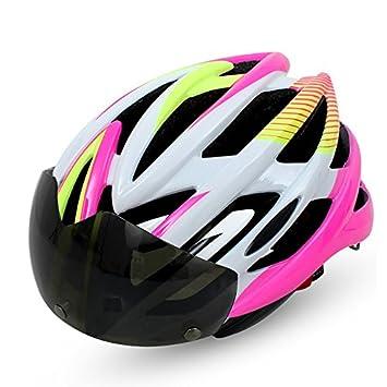 BATFOX Hombre y Mujer Ciclismo Casco Integralmente Moldeada Bicicleta de montaña Casco de Bicicleta de Montaña con Gafas Cascos de Protección de Seguridad ...