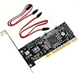 QNINE 4 Ports PCI SATA Raid Controller Internal Expansion Card with 2 Sata Cables, PCI to SATA Adapter Converter for Desktop PC Support HDD SSD