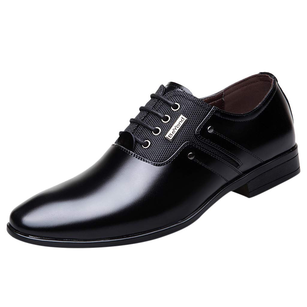 Corriee Mens Leather Shoes Pointed Toe Business Shoes Dress Shoes for Wedding Party Black