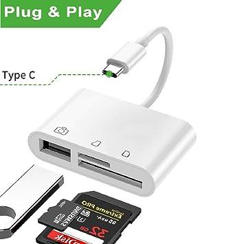 Lector de tarjetas USB C SD / TF, adaptador de cámara USB, 3 en 1 kit de lector de tarjetas de memoria y adaptador de cable OTG para dispositivo tipo ...